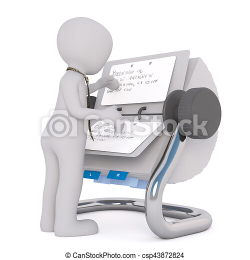 3D man reading notes in rolodex - csp43872824
