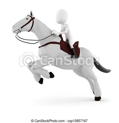 3d man riding a horse - csp10857167