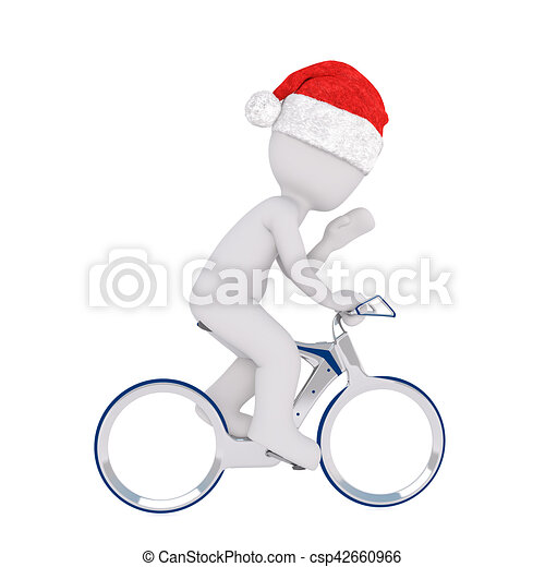941043490f696 3d man riding on a bicycle. 3d man wearing a red santa hat for ...