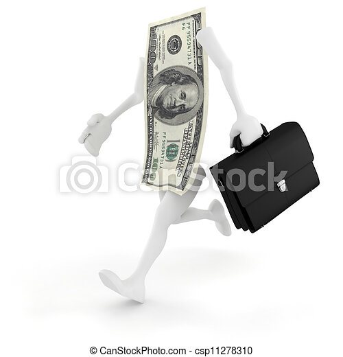 3d man running for succes in business - csp11278310