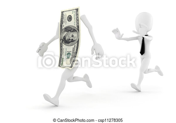3d man running for succes in business - csp11278305