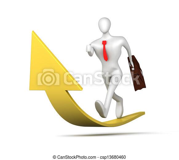 3d man running up to success - csp13680460