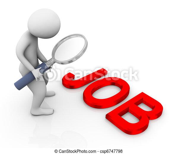 3d man searching job - csp6747798