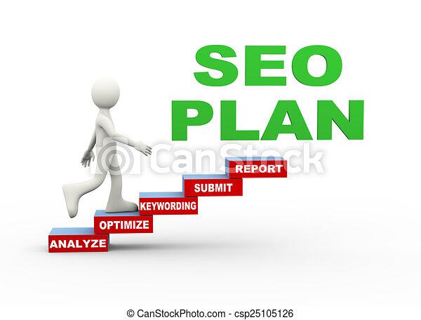 3d man seo plan word steps - csp25105126