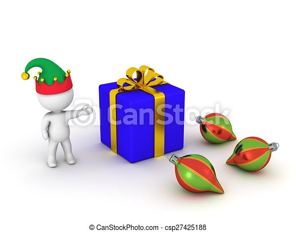 3D Man showing gift and globes - csp27425188