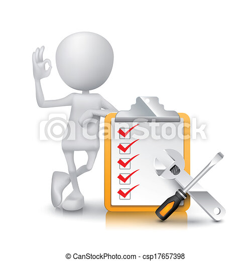 3d man showing okay hand sign with checklist and tools - csp17657398