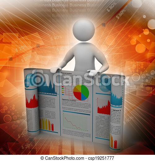 3d man showing  the business report - csp19251777