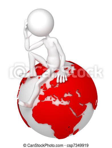3d man sitting on Earth globe in a thoughtful pose - csp7349919