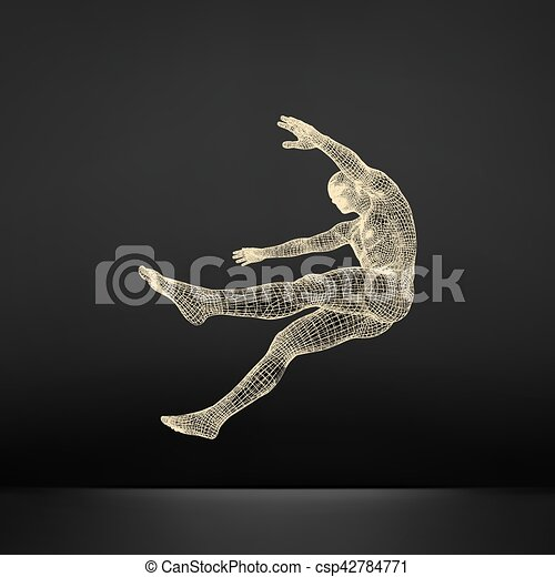 3d Man Slipping and Falling. Silhouette of a Man Fallen Down. - csp42784771