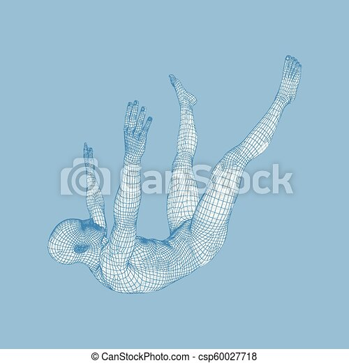 3d Man Slipping and Falling. Silhouette of a Man Fallen Down. 3D Model of Man. Human Body Model. Vector Illustration. - csp60027718