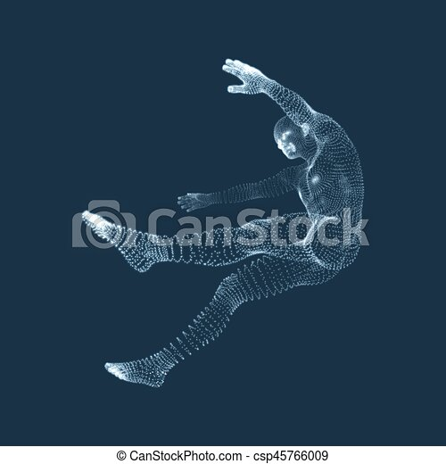 3d Man Slipping and Falling. Silhouette of a Man Fallen Down. - csp45766009