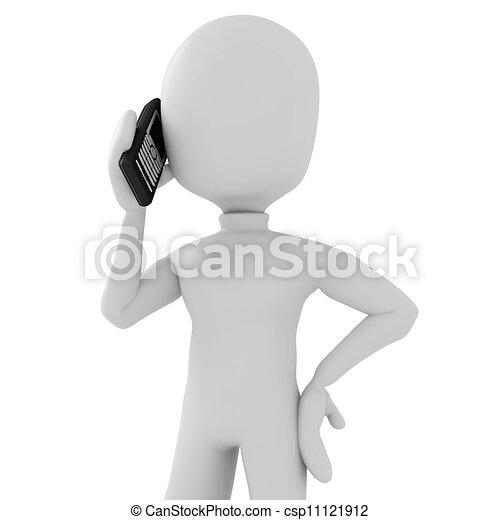 3d man speaking on the phone - csp11121912