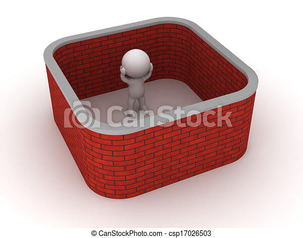 3D Man stuck with brick wall around - csp17026503