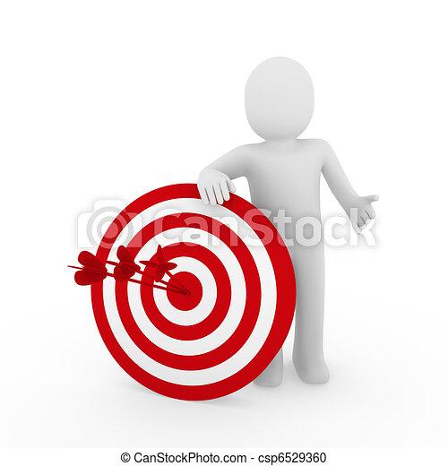 3d man target red - csp6529360