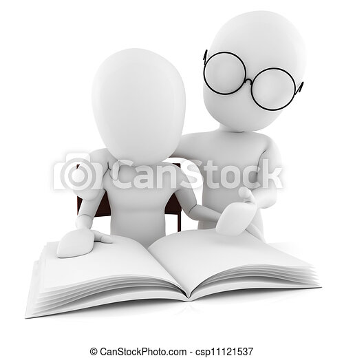 3d man teacher and student, studying, isolated on white - csp11121537
