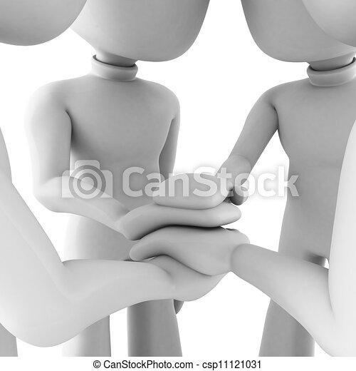 3d man teamwork, isolated on white - csp11121031