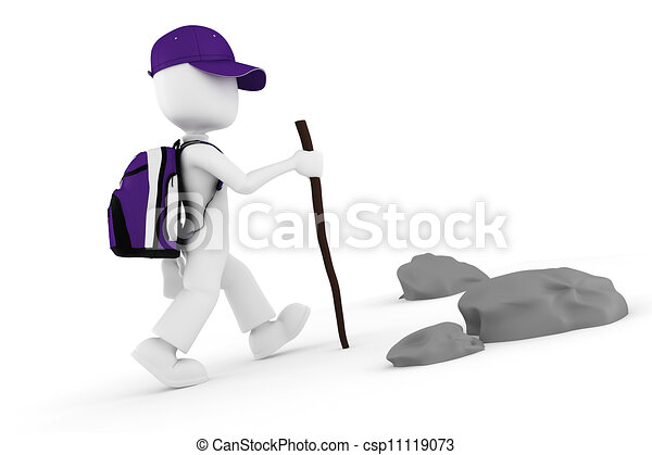 3d man tourist with a big backpack climbing on a mountain - csp11119073