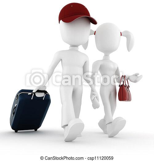 3d man traveler, in vacation - csp11120059