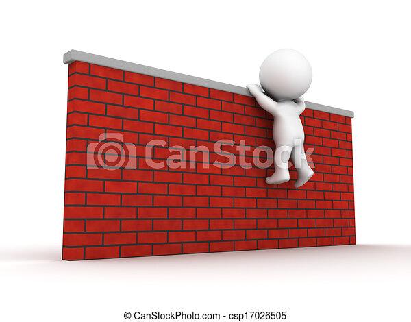 3D Man Trying To Climb Wall