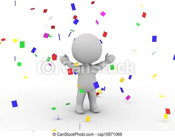 3D Man Victory Confetti - csp15971069