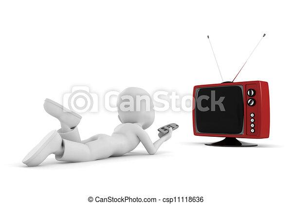 3d man watching tv - csp11118636