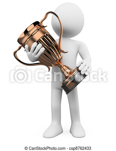3D man with a bronze trophy in the hands - csp8762433
