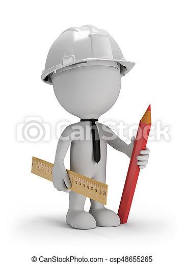 3D man with a pencil - csp48655265