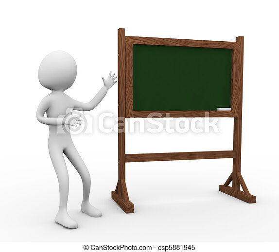 3d man with chalkboard - csp5881945