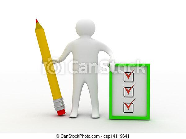 3d man with checklist - csp14119641