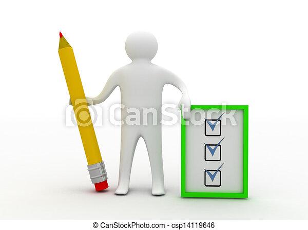 3d man with checklist - csp14119646
