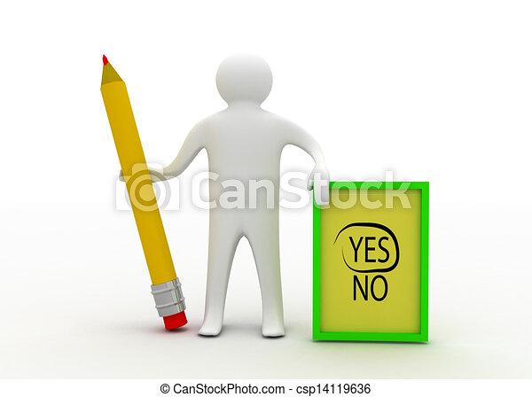 3d man with checklist - csp14119636