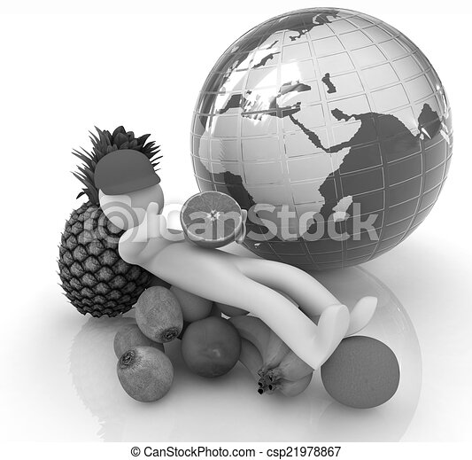 3d man with citrus and earth  - csp21978867