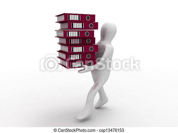 3d man with folders - csp13476153