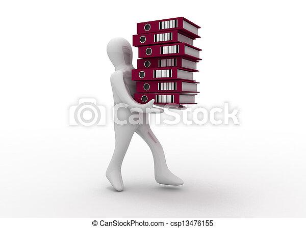 3d man with folders - csp13476155