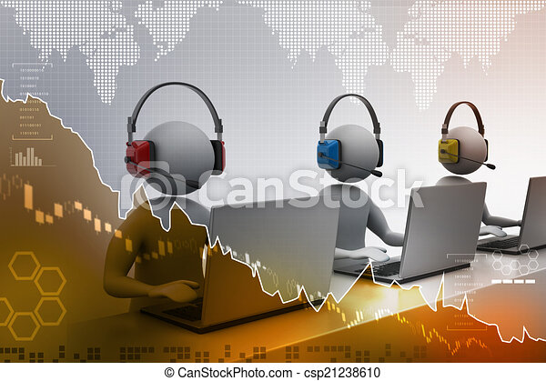 3D man with headset talking over the phone - csp21238610