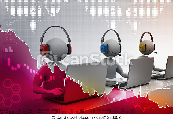 3D man with headset talking over the phone - csp21238602