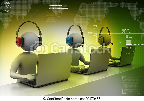 3D man with headset talking over the phone - csp20479468