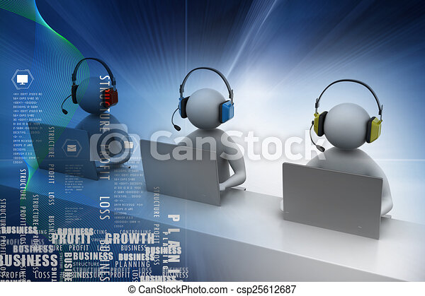 3D man with headset talking over the phone - csp25612687