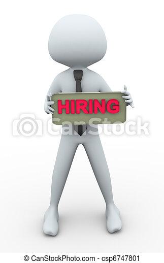 3d man with hiring banner - csp6747801