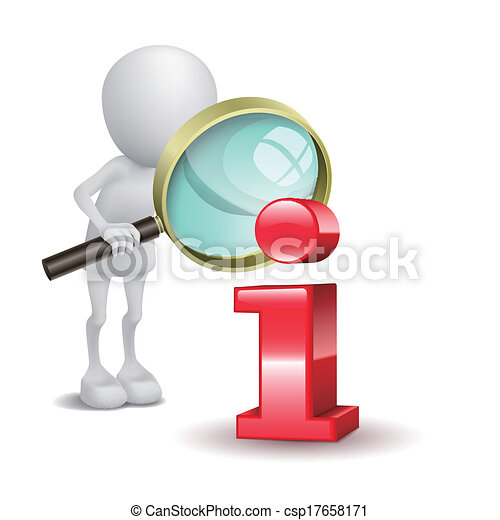 3d man with magnifying glass and red information icon - csp17658171