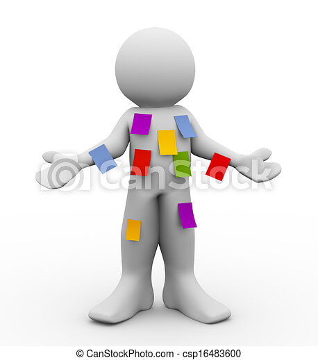 3d man with many sticky empty notes - csp16483600