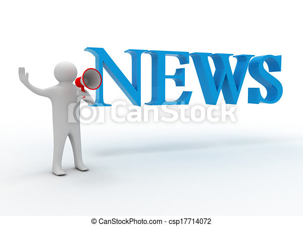 3d man with megaphone and news - csp17714072