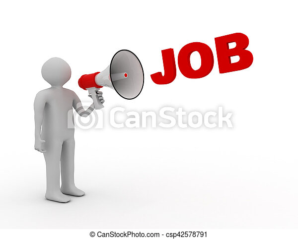 3D man with megaphone and word job - csp42578791