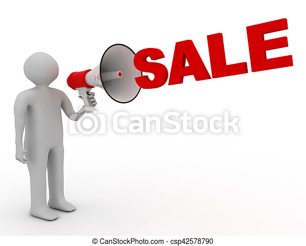 3D man with megaphone and word sale - csp42578790