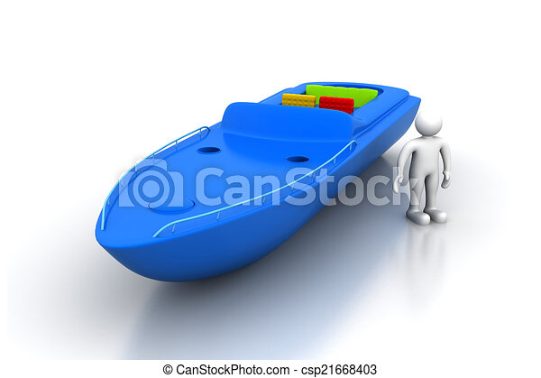 3d man with modern boat - csp21668403