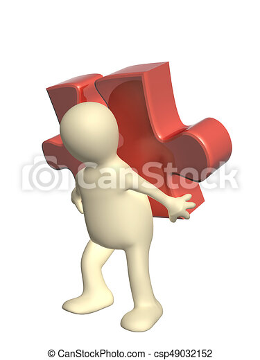 3d man with part of puzzle - csp49032152