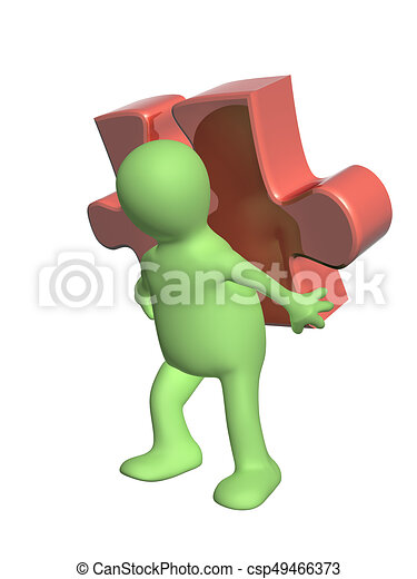 3d man with part of puzzle - csp49466373