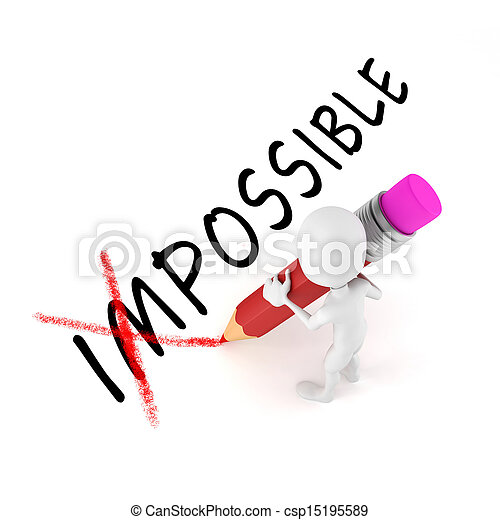 3d man with pencil,  optimistic attitude, on white background - csp15195589