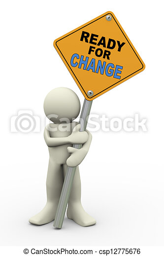 3d man with ready for change sign board - csp12775676
