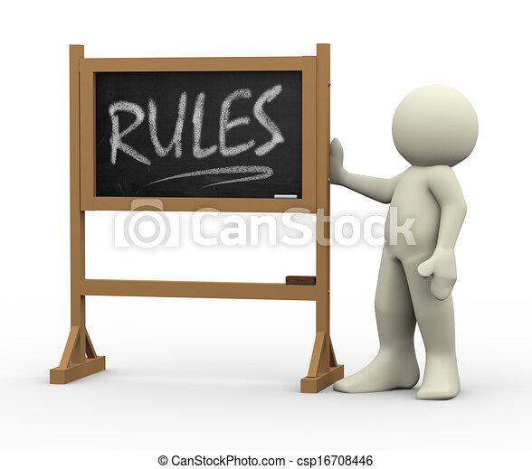 3d man with rules written blackboard - csp16708446